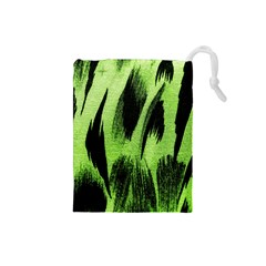 Green Tiger Background Fabric Animal Motifs Drawstring Pouches (Small)