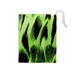 Green Tiger Background Fabric Animal Motifs Drawstring Pouches (medium)