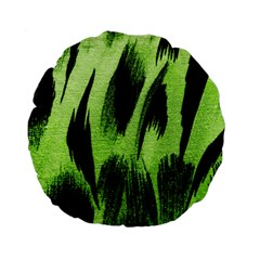 Green Tiger Background Fabric Animal Motifs Standard 15  Premium Flano Round Cushions