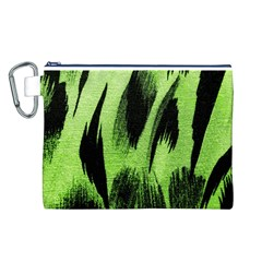 Green Tiger Background Fabric Animal Motifs Canvas Cosmetic Bag (L)