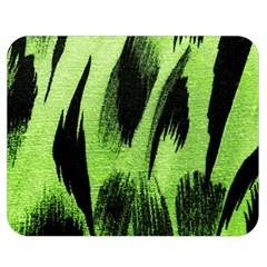 Green Tiger Background Fabric Animal Motifs Double Sided Flano Blanket (Medium)