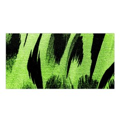 Green Tiger Background Fabric Animal Motifs Satin Shawl