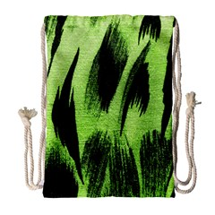Green Tiger Background Fabric Animal Motifs Drawstring Bag (large)