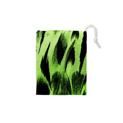 Green Tiger Background Fabric Animal Motifs Drawstring Pouches (XS)