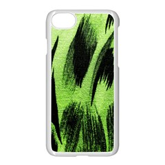 Green Tiger Background Fabric Animal Motifs Apple Iphone 7 Seamless Case (white)