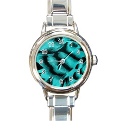 Blue Background Fabric tiger  Animal Motifs Round Italian Charm Watch