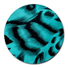Blue Background Fabric Tiger  Animal Motifs Round Mousepads