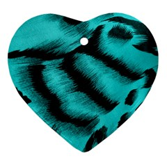 Blue Background Fabric tiger  Animal Motifs Ornament (Heart)