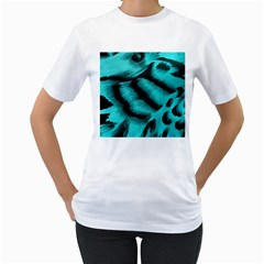 Blue Background Fabric Tiger  Animal Motifs Women s T Shirt (white) (two Sided)