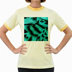 Blue Background Fabric Tiger  Animal Motifs Women s Fitted Ringer T Shirts