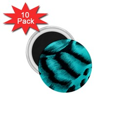 Blue Background Fabric Tiger  Animal Motifs 1 75  Magnets (10 Pack)