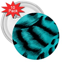 Blue Background Fabric Tiger  Animal Motifs 3  Buttons (10 Pack)