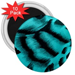Blue Background Fabric tiger  Animal Motifs 3  Magnets (10 pack)