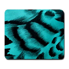 Blue Background Fabric Tiger  Animal Motifs Large Mousepads