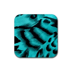 Blue Background Fabric tiger  Animal Motifs Rubber Square Coaster (4 pack)
