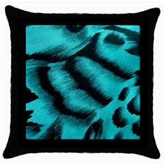 Blue Background Fabric Tiger  Animal Motifs Throw Pillow Case (black)