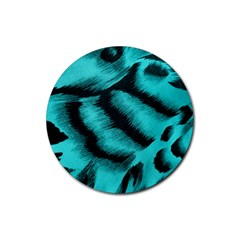 Blue Background Fabric tiger  Animal Motifs Rubber Round Coaster (4 pack)
