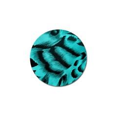 Blue Background Fabric Tiger  Animal Motifs Golf Ball Marker