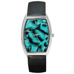 Blue Background Fabric Tiger  Animal Motifs Barrel Style Metal Watch