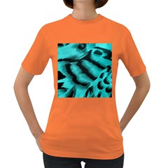 Blue Background Fabric Tiger  Animal Motifs Women s Dark T Shirt