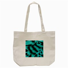Blue Background Fabric Tiger  Animal Motifs Tote Bag (cream)