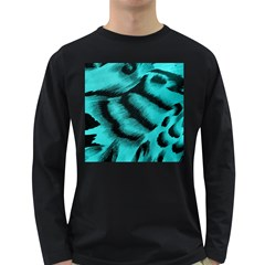 Blue Background Fabric tiger  Animal Motifs Long Sleeve Dark T-Shirts