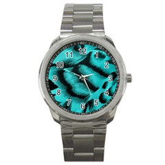Blue Background Fabric Tiger  Animal Motifs Sport Metal Watch