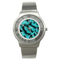 Blue Background Fabric Tiger  Animal Motifs Stainless Steel Watch