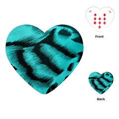 Blue Background Fabric Tiger  Animal Motifs Playing Cards (heart)