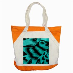 Blue Background Fabric Tiger  Animal Motifs Accent Tote Bag