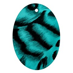 Blue Background Fabric Tiger  Animal Motifs Oval Ornament (two Sides)