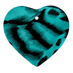 Blue Background Fabric Tiger  Animal Motifs Heart Ornament (two Sides)