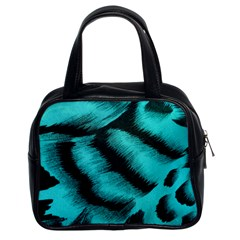 Blue Background Fabric tiger  Animal Motifs Classic Handbags (2 Sides)