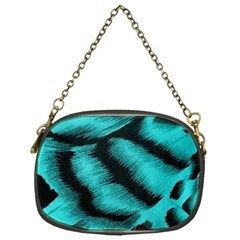 Blue Background Fabric Tiger  Animal Motifs Chain Purses (one Side)