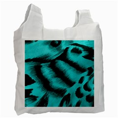 Blue Background Fabric tiger  Animal Motifs Recycle Bag (Two Side)