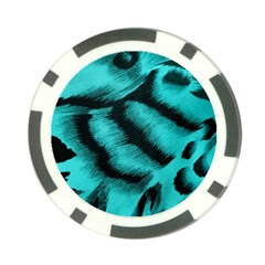 Blue Background Fabric Tiger  Animal Motifs Poker Chip Card Guard (10 Pack)