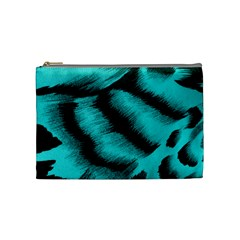 Blue Background Fabric Tiger  Animal Motifs Cosmetic Bag (medium)