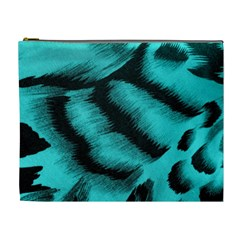 Blue Background Fabric Tiger  Animal Motifs Cosmetic Bag (xl)