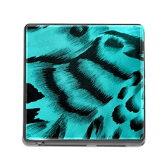 Blue Background Fabric Tiger  Animal Motifs Memory Card Reader (square)