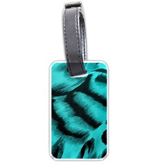 Blue Background Fabric Tiger  Animal Motifs Luggage Tags (two Sides)