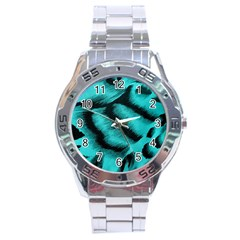Blue Background Fabric Tiger  Animal Motifs Stainless Steel Analogue Watch