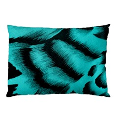 Blue Background Fabric tiger  Animal Motifs Pillow Case (Two Sides)
