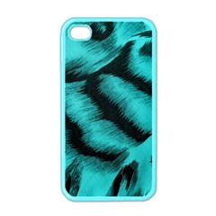 Blue Background Fabric tiger  Animal Motifs Apple iPhone 4 Case (Color)