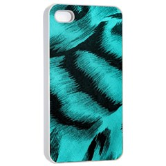 Blue Background Fabric tiger  Animal Motifs Apple iPhone 4/4s Seamless Case (White)