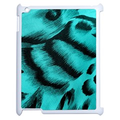 Blue Background Fabric Tiger  Animal Motifs Apple Ipad 2 Case (white)