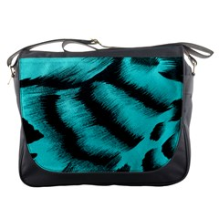 Blue Background Fabric Tiger  Animal Motifs Messenger Bags