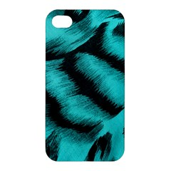 Blue Background Fabric Tiger  Animal Motifs Apple Iphone 4/4s Premium Hardshell Case