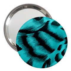Blue Background Fabric Tiger  Animal Motifs 3  Handbag Mirrors