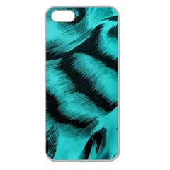 Blue Background Fabric Tiger  Animal Motifs Apple Seamless Iphone 5 Case (clear)