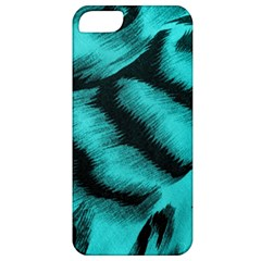 Blue Background Fabric Tiger  Animal Motifs Apple Iphone 5 Classic Hardshell Case
